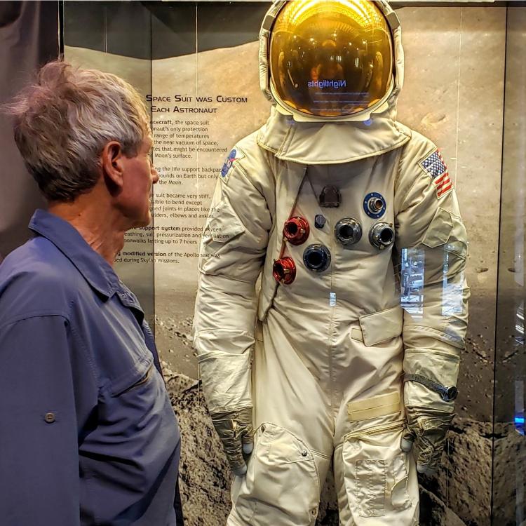 astronaut suit on display at Clark Planetarium